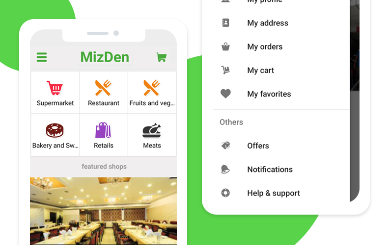 Mizden food and grocery delivery app